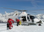 Disembarking passengers at Rutor Glacier (3300 mtrs) in Aosta Valley (on the background Monte Bianco) !